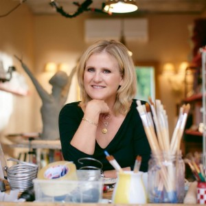 Nancy Cartwright in art studio